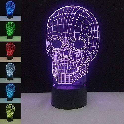 Optical Illusion 3D Skull Night Light Lamp,7 Colors Gradual Changing Glow Lighting Nightlight Room Decor Table Desk Lamps