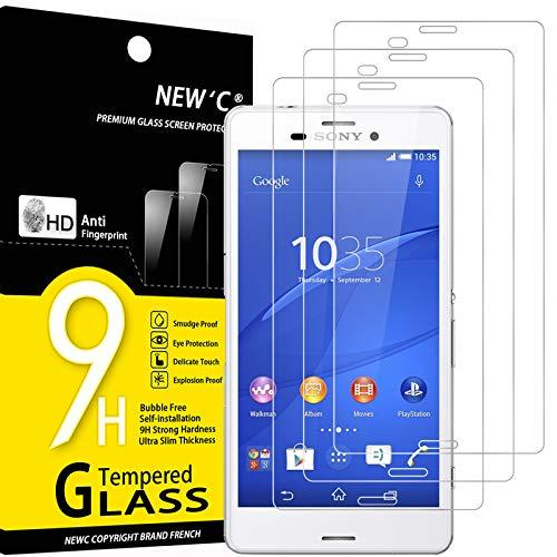 NEW'C 3 Unidades, Protector de Pantalla para Sony Xperia Z3, Antiarañazos, Antihuellas, Sin Burbujas, Dureza 9H, 0.33 mm Ultra Transparente, Vidrio Templado Ultra Resistente