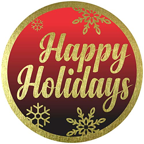 """Happy Holidays Stickers Seals Labels - (Pack of 120) 2"""" Large Round Gold Foil Stamping on Red Black for Christmas Cards Gift Envelopes Boxes"""