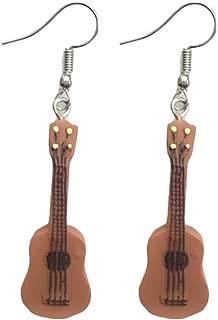 Lightweight Drop Hook Guitar Earrings Music Instruments Long Pendant Music Lover Women Dangle Earring, 2 Pairs