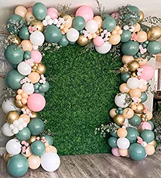 126PCS Sage Olive Green Pink Blush White Balloons Balloon Garland Arch Kit Jungle Baby Shower Birthday Party Decorations for Boys Girls