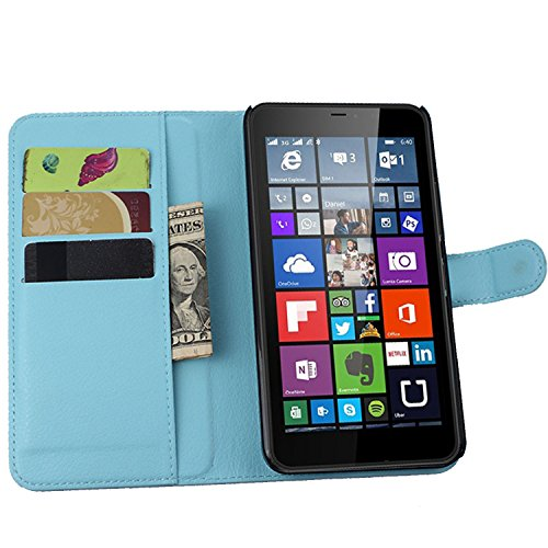 Ycloud Tasche für Nokia Microsoft Lumia 640 XL Dual-SIM Hülle, PU Ledertasche Flip Cover Wallet Hülle Handyhülle mit Stand Function Credit Card Slots Bookstyle Purse Design blau