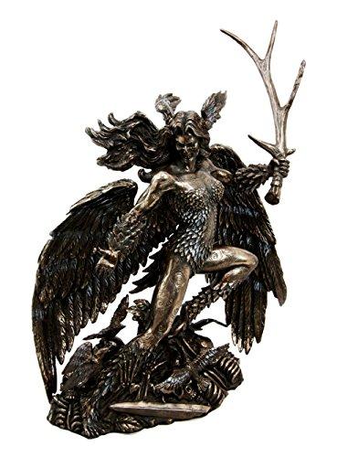 Atlantic Irish Celtic War Goddess Winged Morrigan with Antler Sword Decorative Figurine 10.75' Tall