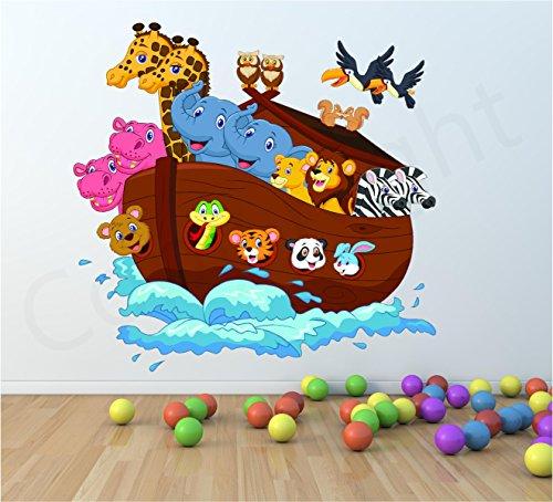 Broderie Ark enfants Bateau enfants Art mural autocollant animaux Impression panoramique, Large 89cm x 86cm