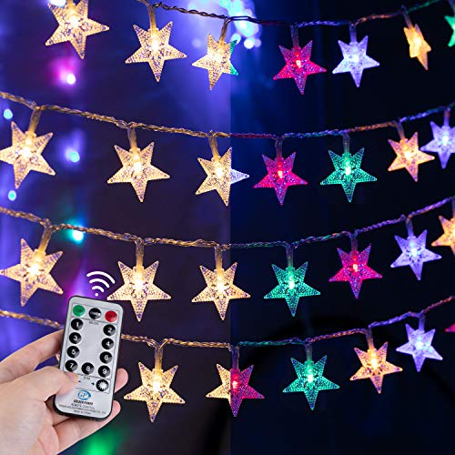 Star String Lights for Bedroom - 100 LED 33Ft Twinkle Fairy Lights with Remote & Plug & 8 Modes Outdoor/Indoor Holiday Wedding Christmas Color Changing Decor   Warm White + Multicolor