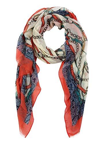 Fashion&DU dames sjaal doek met patroonmix ketting riem colorblocking geel rood blauw roze M6