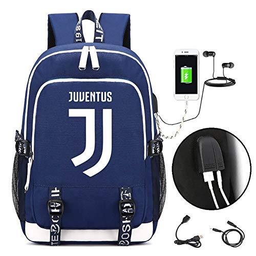 Liti Juventus Rugzak, antidiefstal boekentas met USB-aansluiting voor school, studenten, 17,32 x 11,8 x 5,9 inch