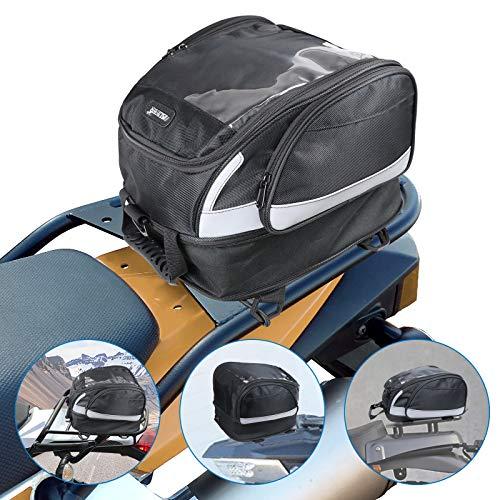 AUFER Borsa posteriore multifunzione per moto Borsa posteriore Borsa per bagagli Zaino sportivo Borsa per casco con striscia riflettente adatta per moto da turismo Kawasaki Suzuki Yamaha Sportster