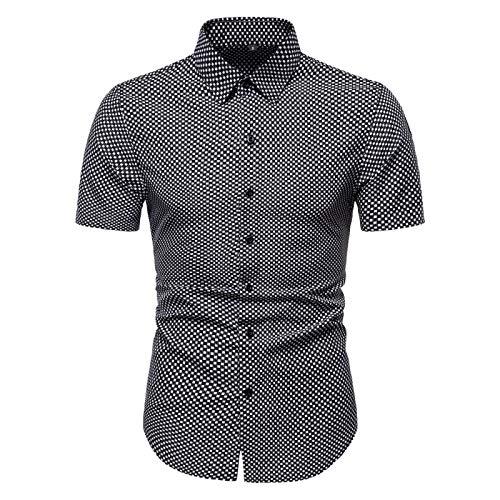 Luandge Camicia a Maniche Corte Taglie Forti da Uomo Camicia Casual Streetwear con Risvolto Estivo Stampato a Quadretti Piccoli 3XL