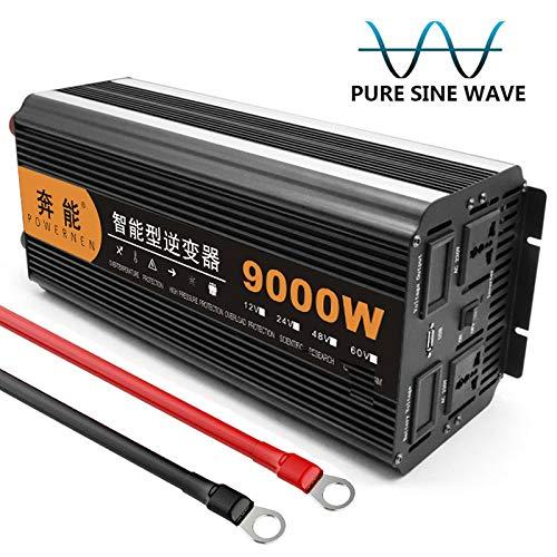 Kymzan Reiner Sinus Wechselrichter 3200 W / 4000 W / 5000 W / 6000 W / 8000 W / 9000 W / 12000 W / 15000 W Spannungswandler DC 12V/24V Auf AC 230V Umwandler - Inverter Konverter,12V-9000W