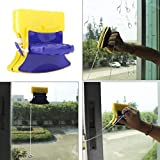 Purabelle Magnetic Window Cleaner Double-Side Glazed Square Two Sided Glass Cleaner Wiper with 2 Extra Cleaning Cotton Cleaner Squeegee Washing Equipment Household Cleaner