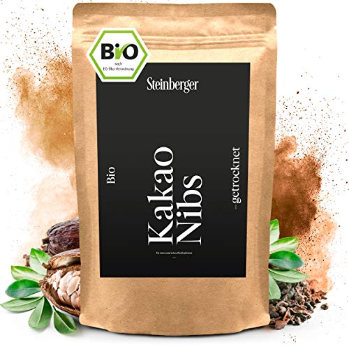 Premium BIO Kakaonibs roh von Steinberger | Kakao Nibs aus peruanischen Kakaobohnen | 1000 g im wiederverschließbaren Aromapack
