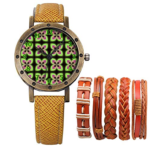 Meisjes Merk Retro Brons Vintage Lederen Band Dames Meisje Quartz Horloge Armband 6 Sets Abstract Bloemen 248.Bloemen Retro 70s Behang