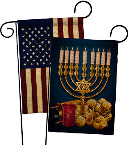 Jewish Festival Burlap Garden Flag - Pack Winter Hanukkah Candle Bonsai Menorah Chanukah David USA Vintage Applique - House Decoration Banner Small Yard Gift Double-Sided Made In 13 X 18.5