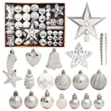 Bolas de árbol de Navidad, 78 piezas de decoración de árbol de Navidad, color plateado y blanco, irrompible, bolas de Navidad, adornos colgantes para árbol de Navidad, bodas, fiestas