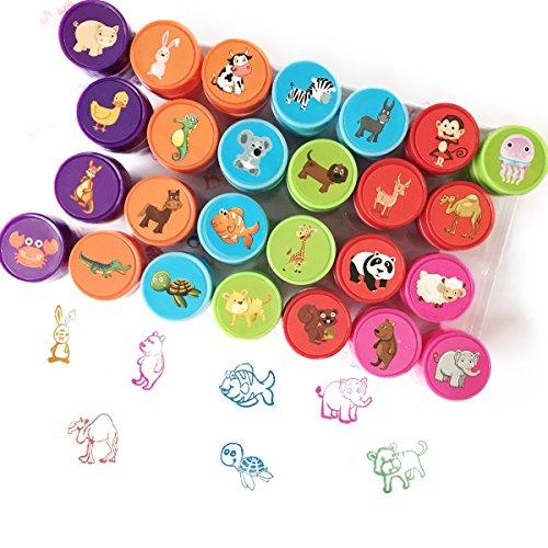 Juego de 26 sellos de animales de cartón surtidos, sellos pretintados para niños