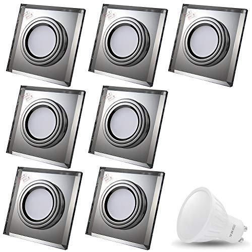 Set CRISTAL BLACK Q 230V LED SMD 7W warm wit plafond inbouwspot inbouwspots plafondspots (helder spiegel) incl. GU10 fitting met 15cm aansluitkabel