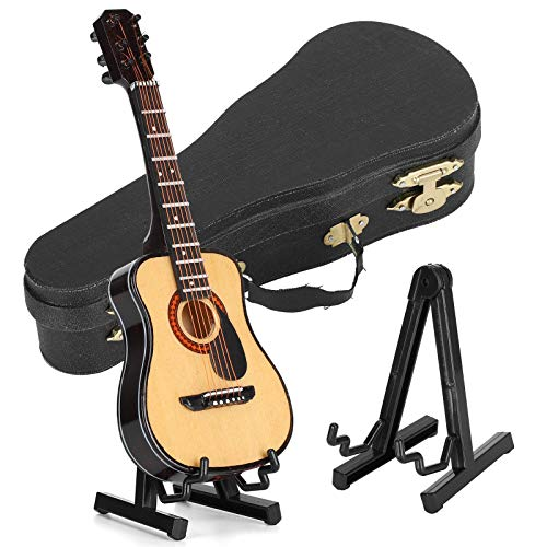 HERCHR Decoración de Guitarra en Miniatura con Soporte y Estuche, Mini Adornos, Modelo de Instrumento Musical, Manualidades de Regalo, 5.9 x 2.2 in