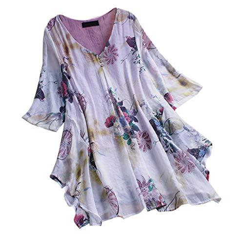 MRULIC T-Shirt Damen Tops Bluse Gedruckt Kurzarm Casual Tunika Oberteile Dreifacher Farbblock Streifen Frühling Sommer Shirt Frauen Locker Beiläufig Tanktops(D-Violett,EU-48/CN-4XL)