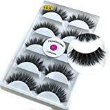 LASGOOS 3D Mink False Eyelashes Luxurious Cross Thick Long Drama Reusable Fake Eye Lashes Extensions Eye Makeup 5 Pairs/Box
