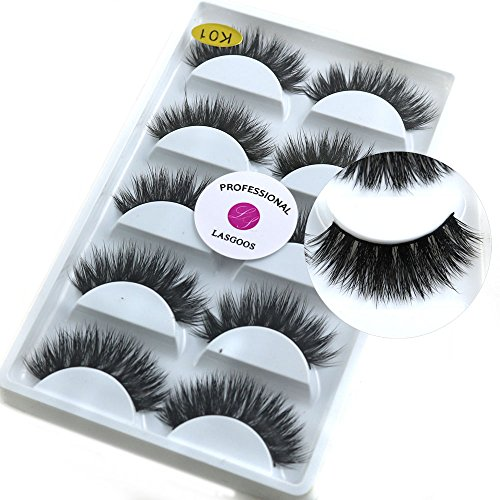 3D Mink False Eyelashes LASGOOS Luxurious Cross Thick Long Reusable Fake Eye Lashes Eye Makeup 5 Pairs/Box