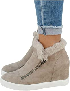 Women's Hidden Wedge Platform Sneakers Side Zipper Slip-on Closed Toe Faux Leather Ankle Booties