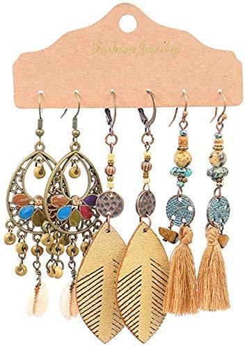 Gymqian Ethnic Tassel Dangle Drop Earrings for Women Earrings Sets Ornament Charm Jewelry Accessories Fashion / 20997/4