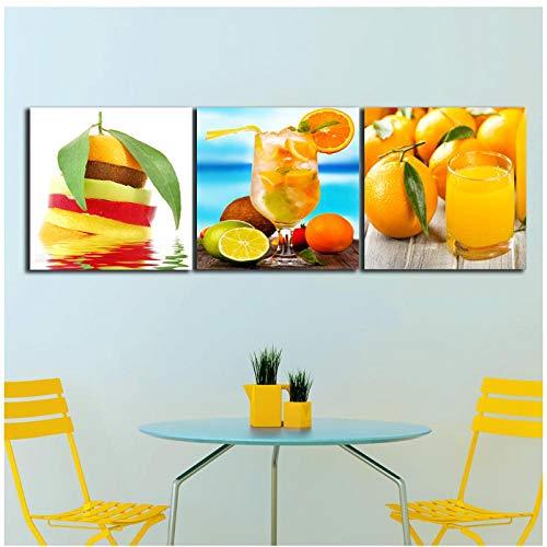 Zhaoyangeng Dranken Sap Oranje Verf voor De Keuken Fruit Muurdecoratie Moderne Canvas Art Muurfoto's voor Woonkamer- 60X60Cmx3 Geen Frame