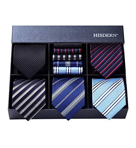 HISDERN Lotto 5 PCS Classico Formale elegante Uomo Cravatta di seta Set Cravatta & Pocket Square-Set multipli