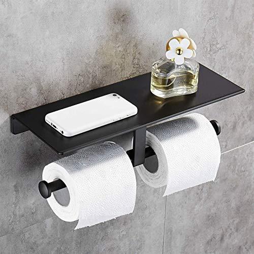 FHK Espacio libre de golpes aluminio titular de papel higiénico baño doble uso caja de pañuelos hotel teléfono móvil titular almacenamiento titular de papel higiénico titular