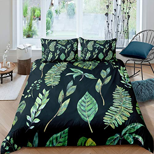 Queen 90x90inches Comforter Cover Leaves Tropical Trunk Soft Bedding Duvet Cover Set Tropical Bedding Set Green Summer Best Bedroom with Zipper 3pcs (1 Duvet Cover + 2 Pillow Cases)