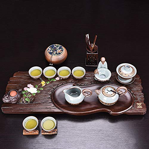 Buy Bargain Tea Tray Elegant Home Gongfu Tea Table Serving Tray Solid Wood Plum blossom Birds Design...