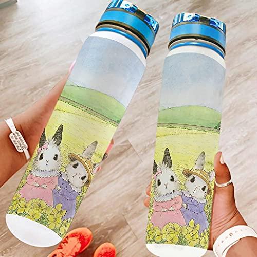 Conejo en un cuento de hadas Deportes botella de agua grande botella de viaje regalos para amigos blanco 1000ml