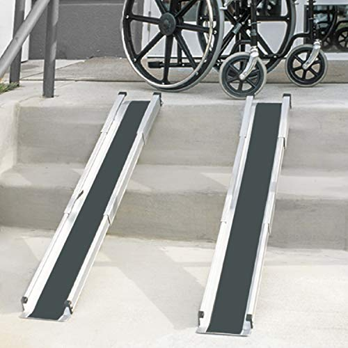 MABIS DMI Healthcare Portable Wheelchair Ramp/Threashold Ramp, Adjustable, Telescoping, Retractable, and Lightweight Loading Ramp with Cover, Silver