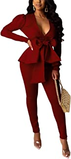 Pants and Blazer Set for Women Long Sleeve Ruffle Hem...