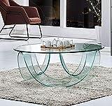 Bricozone Tavolo Tavolino caffè Tondo Circolare Soggiorno Camera Sala da Pranzo Ufficio Salotto Vetro Temperato Curvato Cristallo Moderno Elegante Raffinato Luxury Z-20 100 x 100 x 36 Cm