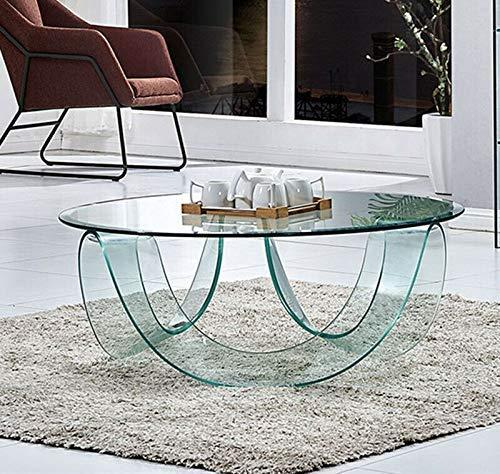 Bricozone Tavolo Tavolino caffè Tondo Circolare Soggiorno Camera Sala da Pranzo Ufficio Salotto Vetro Temperato Curvato Cristallo Moderno Elegante Raffinato Luxury Z-20 100 x 100 x 30 Cm