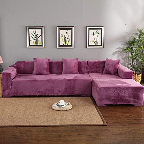 YYMMQQ Slipcover,Velvet 2pcs Covers for Corner Sofa Living Room L Shaped Couch Slipcover Case Chaise Longue Corner Sofa Cover Elastic Stretch,Light Purple,1seater and 2seater