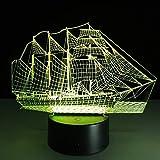 Nave spaziale antica d'annata di illuminazione della decorazione dello scrittorio della tavola della luce notturna del cambiamento di colore della barca della barca del mare a vela