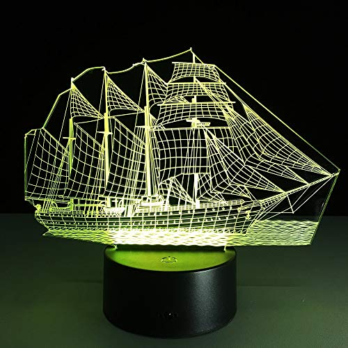 Nur 1 Stück 3D Retro Ancient Sailing Seeboot Schiff LED Lampe Wechsel Illusion Nachtlicht USB Tisch Schreibtisch Dekor Beleuchtung