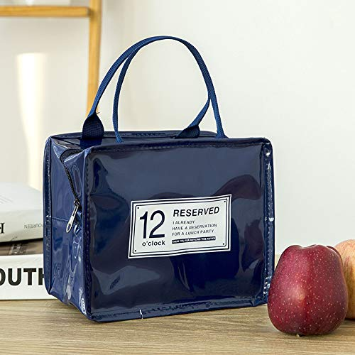 Bolsa Isotérmica De Almuerzo Lunch Bag Bolsa Térmica Porta Alimentos Tela Impermeable Plegable Bolso De Picnic Para Mujeres, Adultos, Estudiantes Y Niños,22.5x18.5x12.2cm