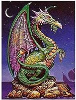NC68 Diy5Dダイヤモンドペインティングキットフルドリル動物刺繡ドラゴンアートラインストーンモザイク描画パズル画像ウォールステッカー家の装飾12x16インチ(フレームレス)