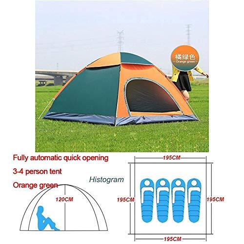 Générique Arongbc Tente de Camping Automatique pour 1 2 3 4 Personnes Ouverture Facile, Orange Vert 3 4 Personnes