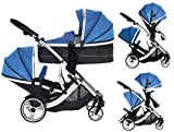 Duellette 21 BS Combo Double Twin Pushchair Baby Newborn carrycots Pram Travel system Tandem stroller buggy: 1 Pramette/seat unit for newborn baby, 1 seat unit for toddler 2 footmuffs 2 Rain covers, Teal Mist by Kids Kargo