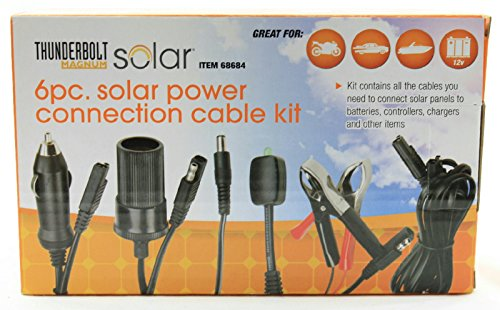 Thunderbolt Magnum 6 Piece Solar Panel Power Connection Cable Kit Including Battery Clamps, LED Charge Indicator, 12 Volt Adapters, Chargers & Connectors