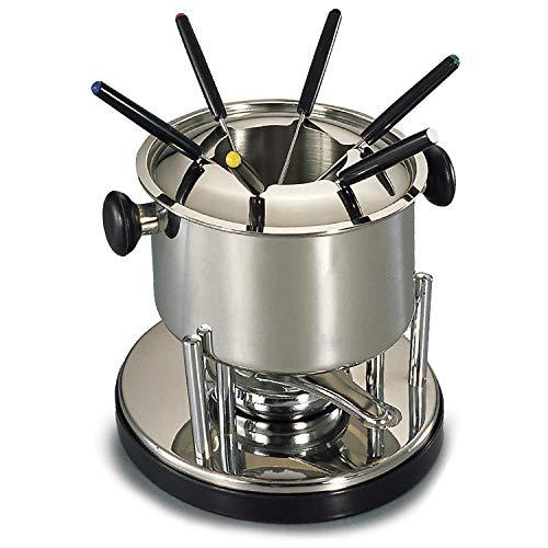 takestop® - Juego de Fondue de Acero de 18 cm con 6 Tenedores para salseras y cucharillas de 21,3 x 21,3 x 18,5 cm - Recipiente para Queso, Chocolate, Ceremonia, Fiesta, Productos de Cocina