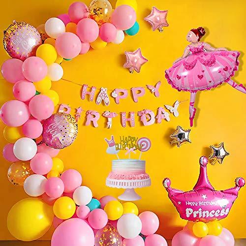 AYUQI Globos de Cumpleaños niña con Cake Topper, kit arco Globos con Happy Birthday Banner, 63 Piezas Globos Confeti, Globos Rosados para baby shower Niña Decoración de Cumpleaños Fiesta Rosa Comunion