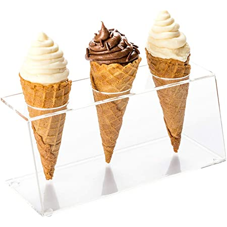 "Clear Tek Clear Acrylic Ice Cream Cone Holder - 3 slots - 7"" x 2 3/4"" x 3 1/4"" - 1 count box - Restaurantware"
