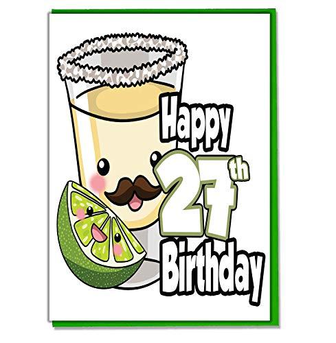 Tequila Shot Geburtstagskarte zum 27. Geburtstag, für Damen, Herren, Tochter, Sohn, Freund, Ehemann, Ehefrau, Mutter, Vater, Schwester, Bruder
