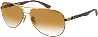 RAY-BAN Men's RB8313 Aviator Carbon Fiber Sunglasses, Gold/Brown Gradient, 61 mm
